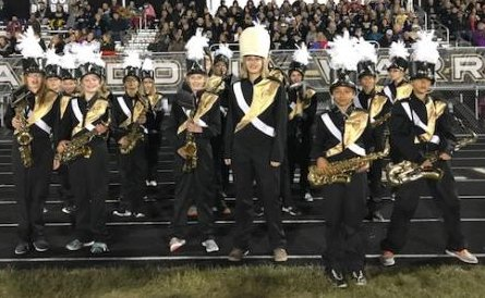 2017 Band members preparing to perform at the football game